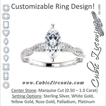 Cubic Zirconia Engagement Ring- The Alelli (Customizable Marquise Cut Style with Thin and Twisted Micropavé Split Band)