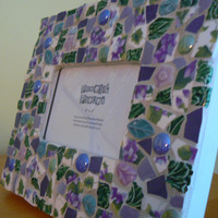 Purple Sweet Violets Mosaic Picture Frame