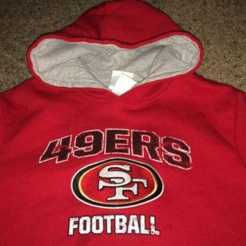 PEAPYD9 Sale!! Vintage San Francisco SF 49ers football hooded sweater NFL youth shirt jersey