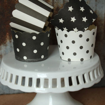 20 Black and White Cupcake Cups -- black dots -- white dots -- white stars -- black white stripes