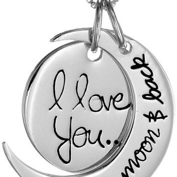 Sterling silver i love you to the moon from amazon my sterling silver i love you to the moon and back pendant necklace mozeypictures Choice Image