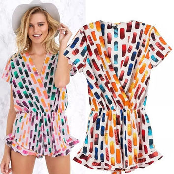 V-neck Summer Print One Piece Dress = 5839831937