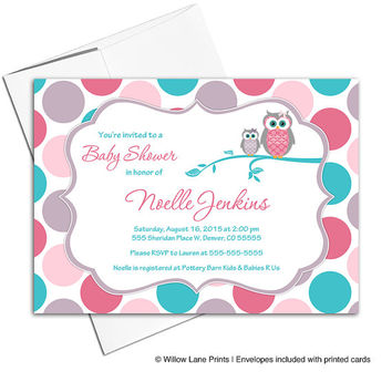 Girl baby shower invitations owl baby shower invite girls | Pink teal purple polkadots | printable or printed - WLP00731