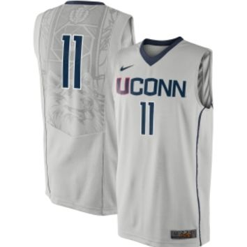 9820c6a907e7 Nike Men s UConn Huskies  11 Grey Elite Replica Basketball Jersey