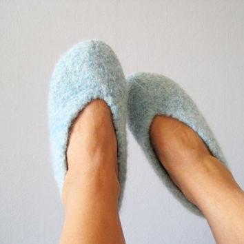 Wool slippers felted handknitted socks woman size 7-8 US