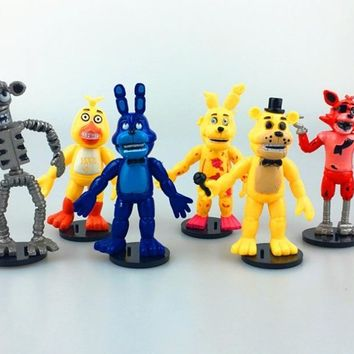 6pcs/set   9cm In Stock  At  4  Foxy Chica Bonnie Freddy Action Figures Kid Toy Christmas Gifts