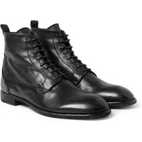 Alexander McQueen Washed-Leather Lace-Up Boots | MR PORTER