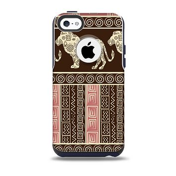 The Aztec Pink & Brown Lion Pattern Skin for the iPhone 5c OtterBox Commuter Case