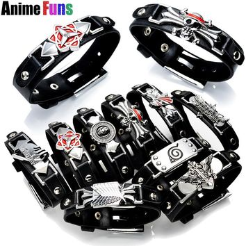 Cool Attack on Titan 10 types Game Anime Bracelet One Piece Naruto Black Butler Fairy Tail Bleach  Death Note LOL Cross Fire Bangle AT_90_11