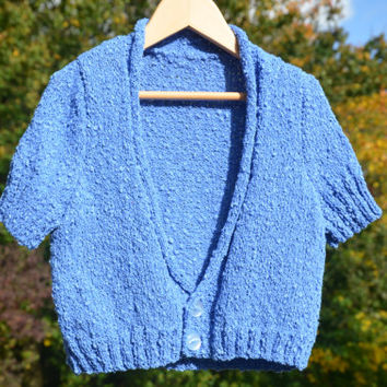 Girls Blue Cardigan Hand Knitted - Short Sleeve Sweater - Jaegar Summerspun Yarn - 4 year old girl