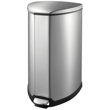EKO Grace Metal Step Bin Trash Can with Lid 35 Liter / 9.2 Gallon Stainless S...