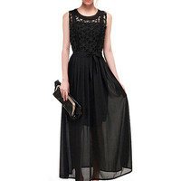 Lace Embroidered Sleeveless Chiffon Shesth A-line Pleated Maxi Dress