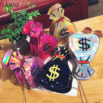 Laser Holographic Wallet $ Embroidery Coin Purse