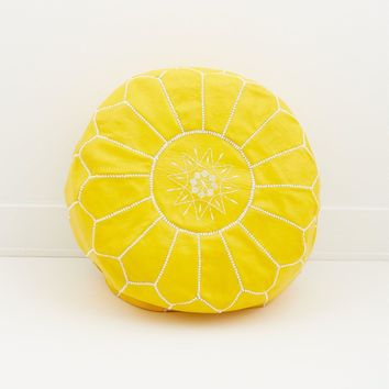 Moroccan Leather Pouf, Citrus