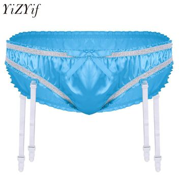 Mens Lingerie Stretchy Satin Ruffled Lined Sissy Triangle Briefs Underwear Lace belt Fetish Sexy Pantie with Plastic Garters
