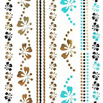 """Gold & Silver & Black & Blue Jewelry with butterflies and flowers design Metallic Temporary Tattoos, tattoo Size: 8.27"""" x 5.51"""""""