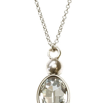LONG CRYSTAL DROP NECKLACE - CLEAR