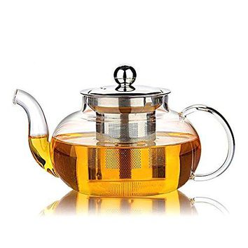 Good Glass Teapot with Stainless Steel Infuser & Lid, Borosilicate Glass Tea Pots Stovetop Safe, 27 Ounce / 800 ml