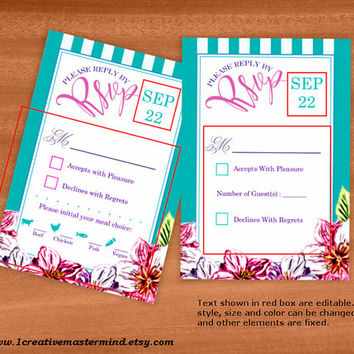 DIY Wedding Template rsvp response card, Instant Download, Editable PDF, Printable, Digital, Floral with Teal and White Stripes #1CM80-2