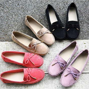Comfy Standard Size Butterfly Bow College Casual Prenatal Pastel Color Suede Leather Flat Shoes
