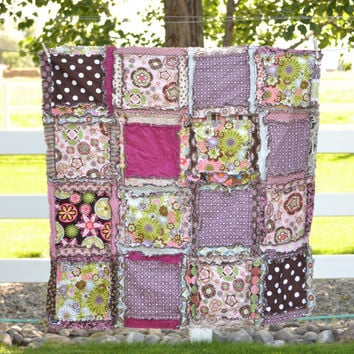 Girl Rag Quilt, Green, Pink and Brown, Ready to Ship 1 Business Day