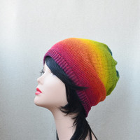 Rainbow Womans beanie hat, wool slouchy beanie, knit slouch hat
