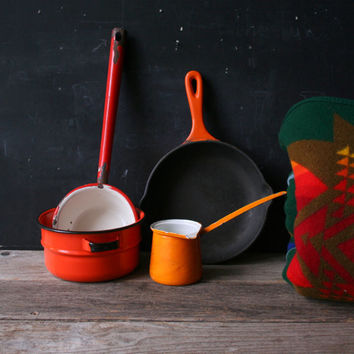 Four Piece Set Cast Iron and Small Enamel Pans Camping Variety Orange and Red From Nowvintage on Etsy