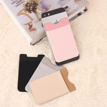 1pc Lycra Elastic Adhesive Mobile Phone Wallet Credit ID Card Holder Sticker Case Pouch Portable Phone Pocket For iphone xiaomi