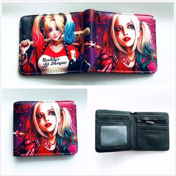 New Arrivel Comics Suicide Squad The Joker Harley Quinn cosplay short PU Wallet credit card holder men women leather purse W857Y
