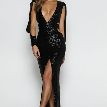 Verona Black Sequins Gown