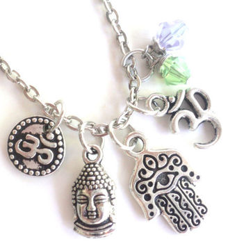 Hamsa Necklace Buddha Om Protection Jewelry Charm Necklace Yoga Jewelry Meditation Zen Namaste Evil Eye Earthy Unique Gift Under 50 Item T38