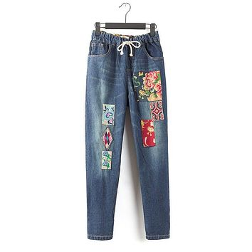 Personalized vintage embroidery stitch patchwork elastic denim pants mori girl jeans boutique trousers women