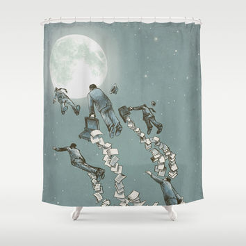 Flight of the Salary Men (color option) Shower Curtain by Eric Fan