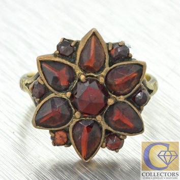 1880s Antique Victorian 10k Solid Yellow Gold Garnet Cluster Ring