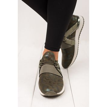 I Work Out Cheetah Sneaker (Olive Green)
