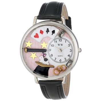 SheilaShrubs.com: Unisex Magic Black Padded Leather Watch U-0420006 by Whimsical Watches: Watches