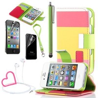 Pandamimi ULAK Colorful Wallet Pu Leather Credit Card Holder Pouch Case Cover for iPhone 4 4S + Stylwire Pink Heart Stereo Headphone+with Screen Protector+ Stylus