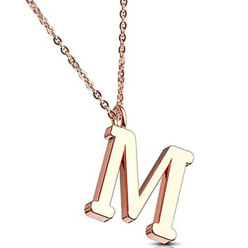 BodyJ4You Necklace Letter M Initial Alphabet Charm M Stainless Steel Rose Goldtone Chain