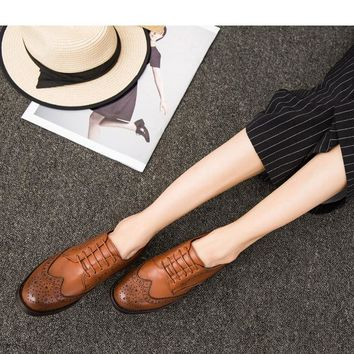 Jookrrix New Fashion Women Brogue Flats Genuine Leather Lace Up Brand Female British S