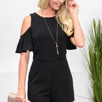 Cold Shoulder Taylor Black Romper