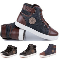 New Men's Fashion Casual Shoes Trend Canvas Male Low Board Breathable Air Shoes Autumn Flats Top Classic Leather Shoes [8822147139]