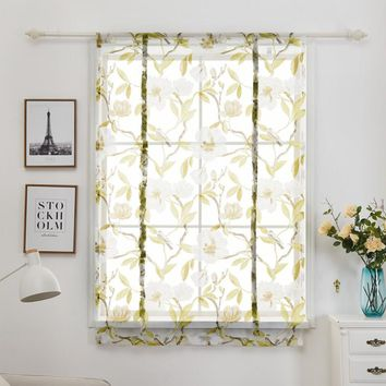 Roman Curtains Floral Print Sheer Curtains Kitchen White Sheer Office Short Tulle Window Door Curtain