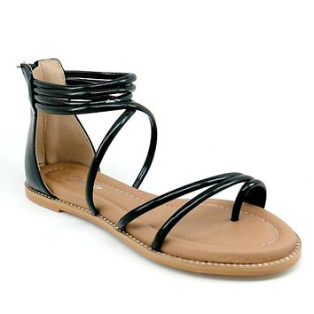 Women's Black Sandal with Ankle Strap and Back Zipper