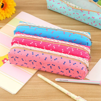 Cute Kawaii Lace Flower Fabric Pencil Bag Lovely Bow-knot Pencil Box For Kids Student School Supplies Free Shipping 1124
