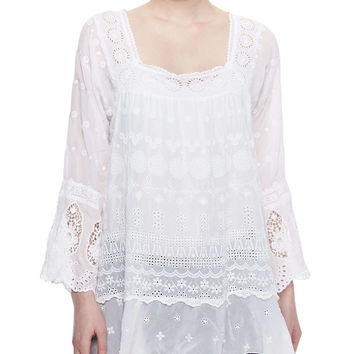 Blue Springs Eyelet Flutter Tunic, Women's - Johnny Was