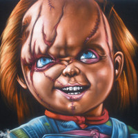 Chucky Childs play evil doll black velvet oil painting handpainted signed art