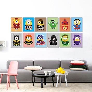 Kawaii Funny Superhero Avengers Batman Movie Poster Prints Pop Wall Art Pictures Nordic Boy Kids Room Decoration Canvas Painting