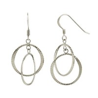 Sterling Silver Double Round Dangle Earrings High Polish Rhodium plated