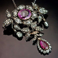 19th Century Pink Sapphire Ruby Diamond Pendant / Brooch