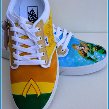 Mens Shoes, Mens Vans, Mens Painted Shoes, Mens Custom Shoes, Vans, Converse, Aquaman, Gifts for Men, Aquaman Shoes, Triton